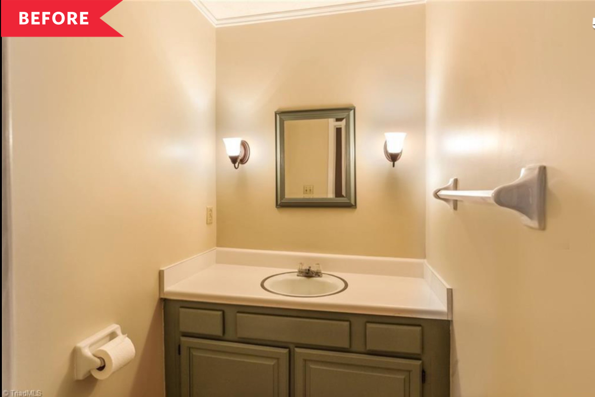 Before and After: A $100 Mini Makeover Packs This Bland Bathroom with Color