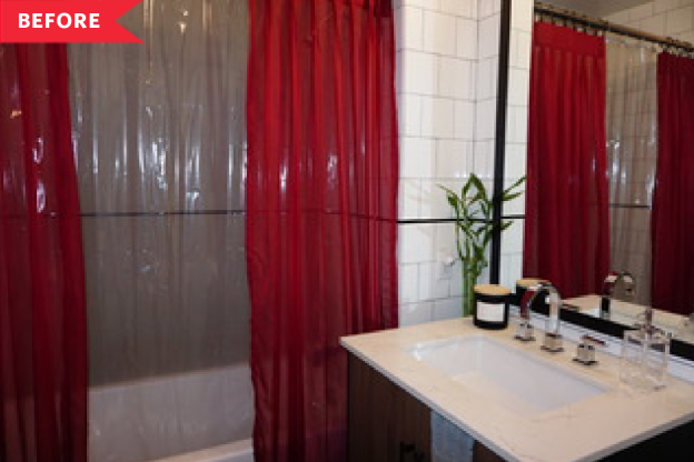 Before and After: A Smart Shower Storage Solution Frees up Bathroom Cabinet Space