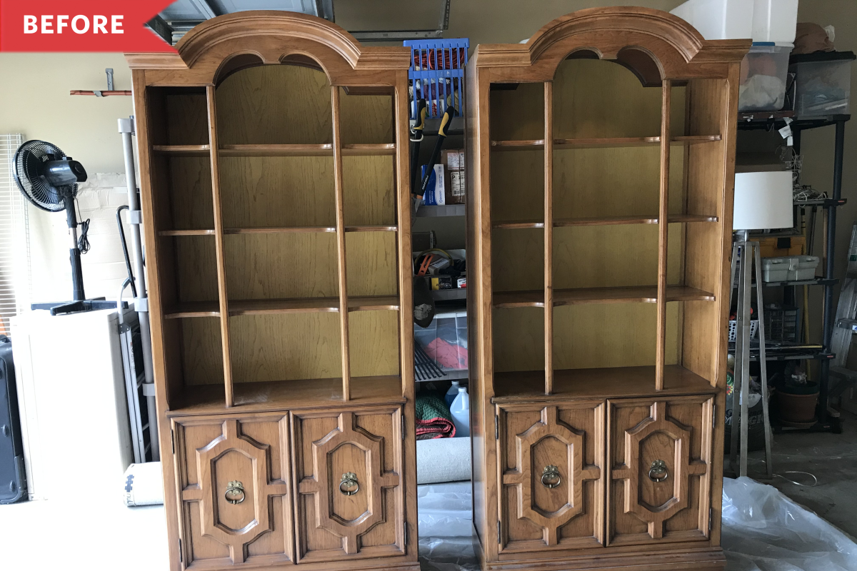 Before and After: Basic Brown Bookcases Get a