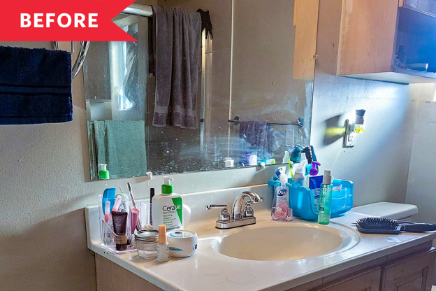Before and After: Sage Green Cabinets and a Clever Accent Wall Transform a Blah Bathroom for $265