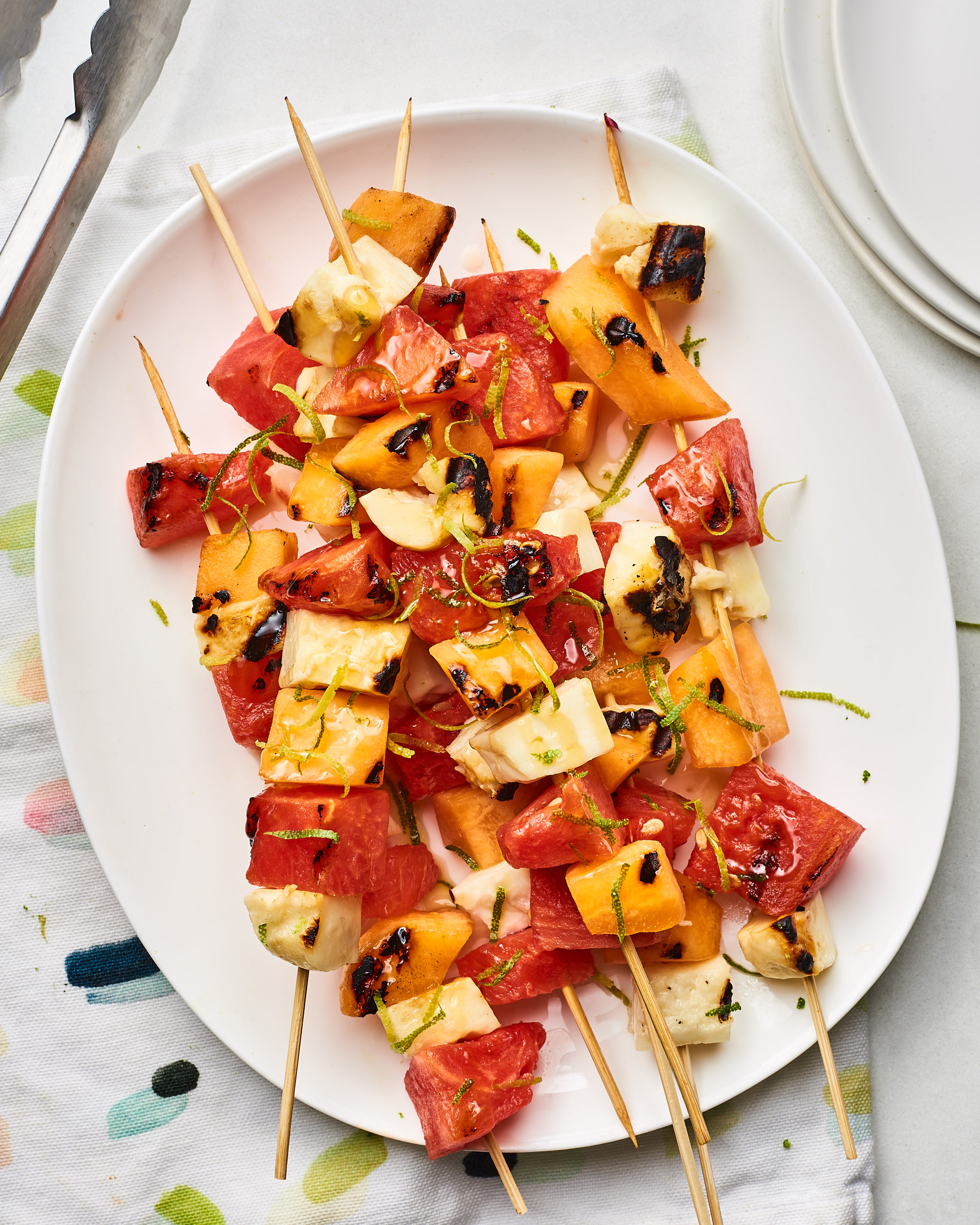Recipe: Halloumi & Melon Skewers with Honey-Lime Glaze