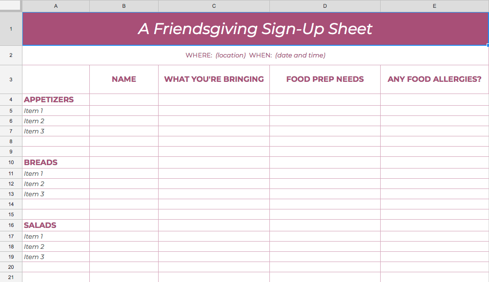It is a graphic of Stupendous Printable Potluck Sign Up Sheets