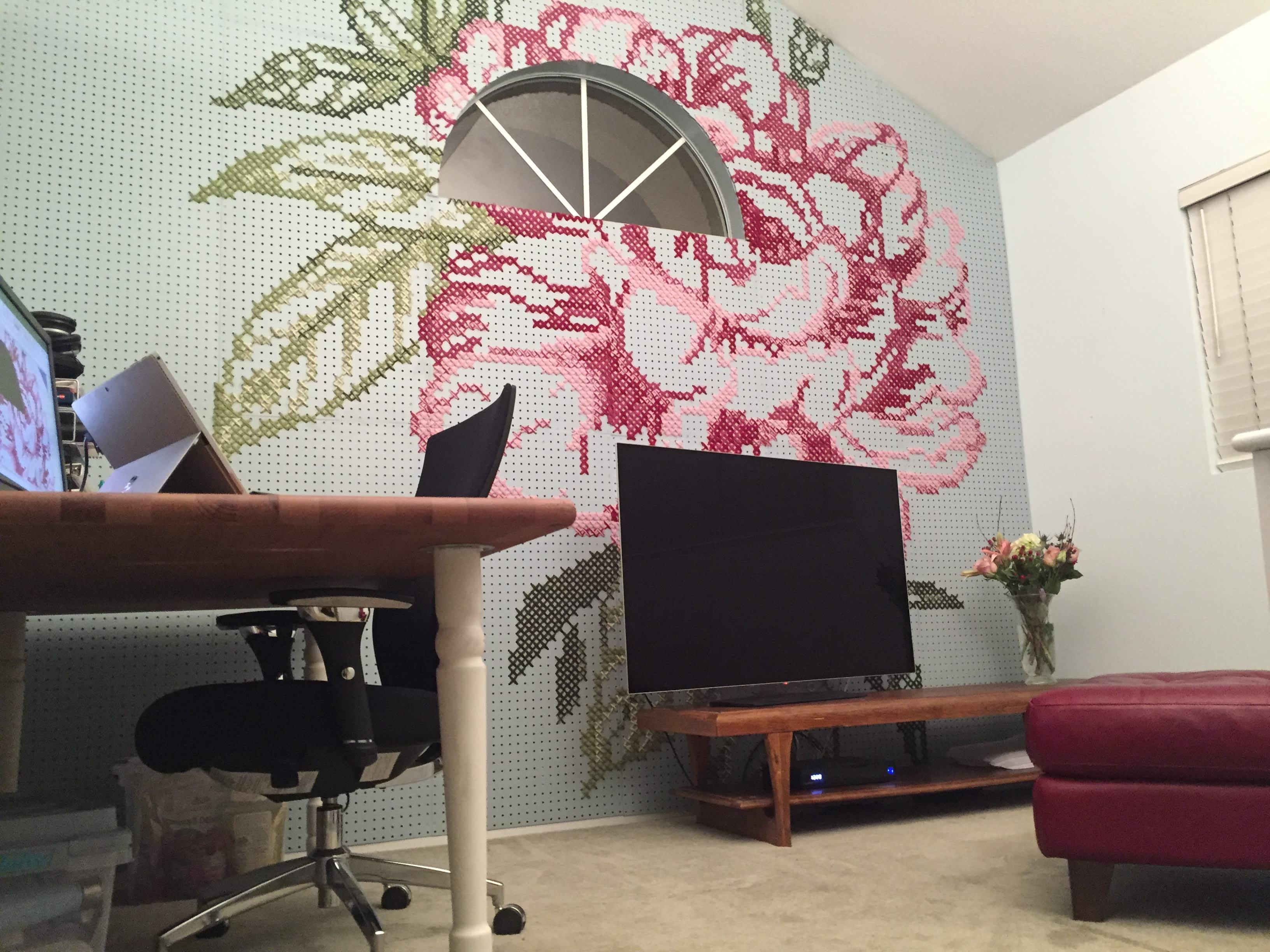 Cross Stitch Pegboard Art Fills Big Blank Wall Apartment Therapy