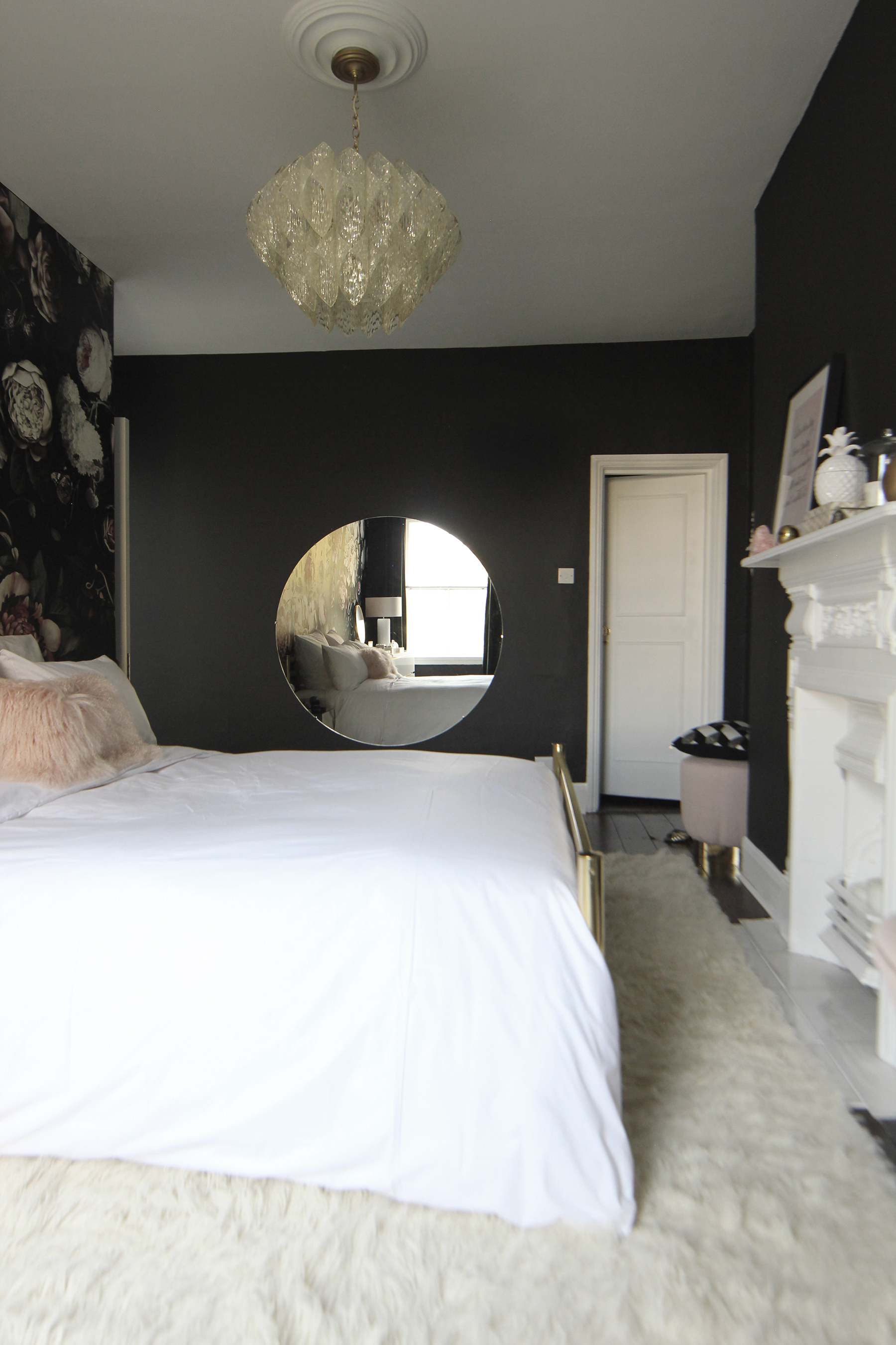 Before And After Dark Dramatic Floral Wallpaper Makeover