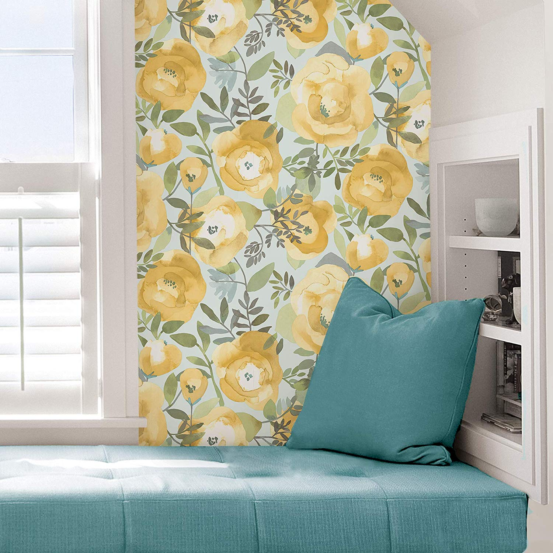 6. NuWallpaper Peachy Keen Yellow Peel Stick Wallpaper