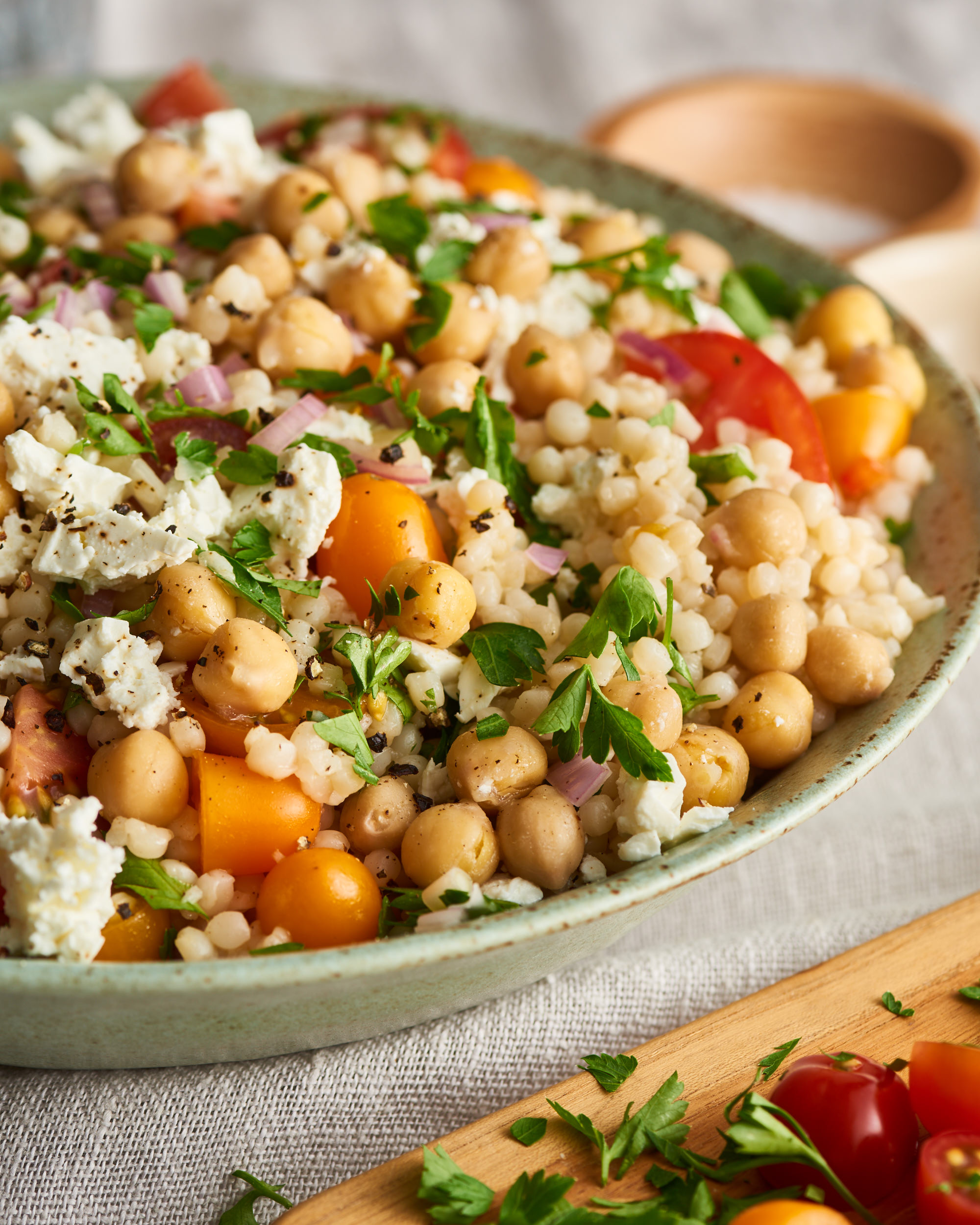 Israeli Couscous Salad With Feta Chickpeas And Herbs Kitchn
