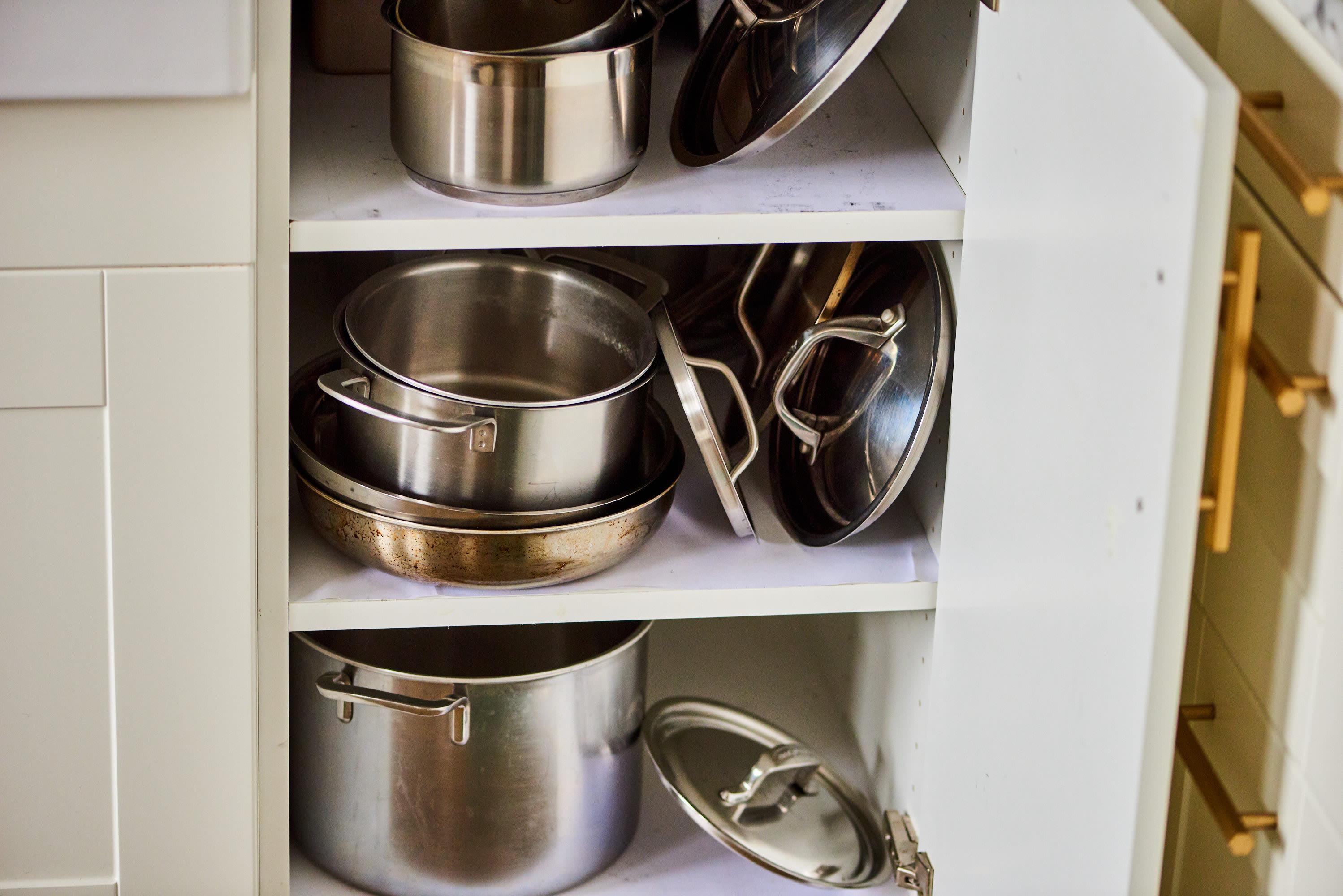 10 Clever Pot Lid Organizer Ideas How To Store Pot Lids Kitchn