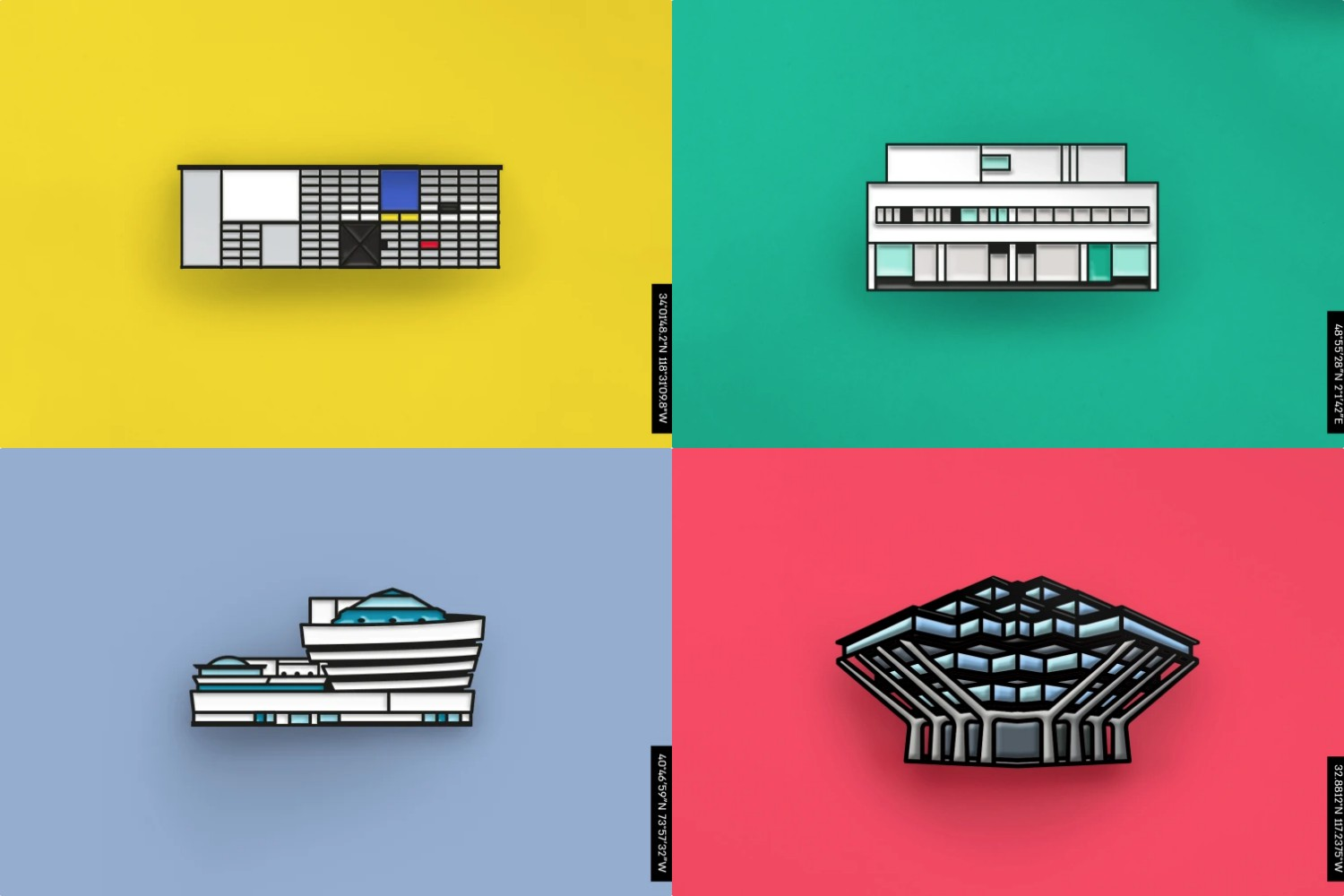 DROP-A-PIN Architectural Enamel Pins   Apartment Therapy