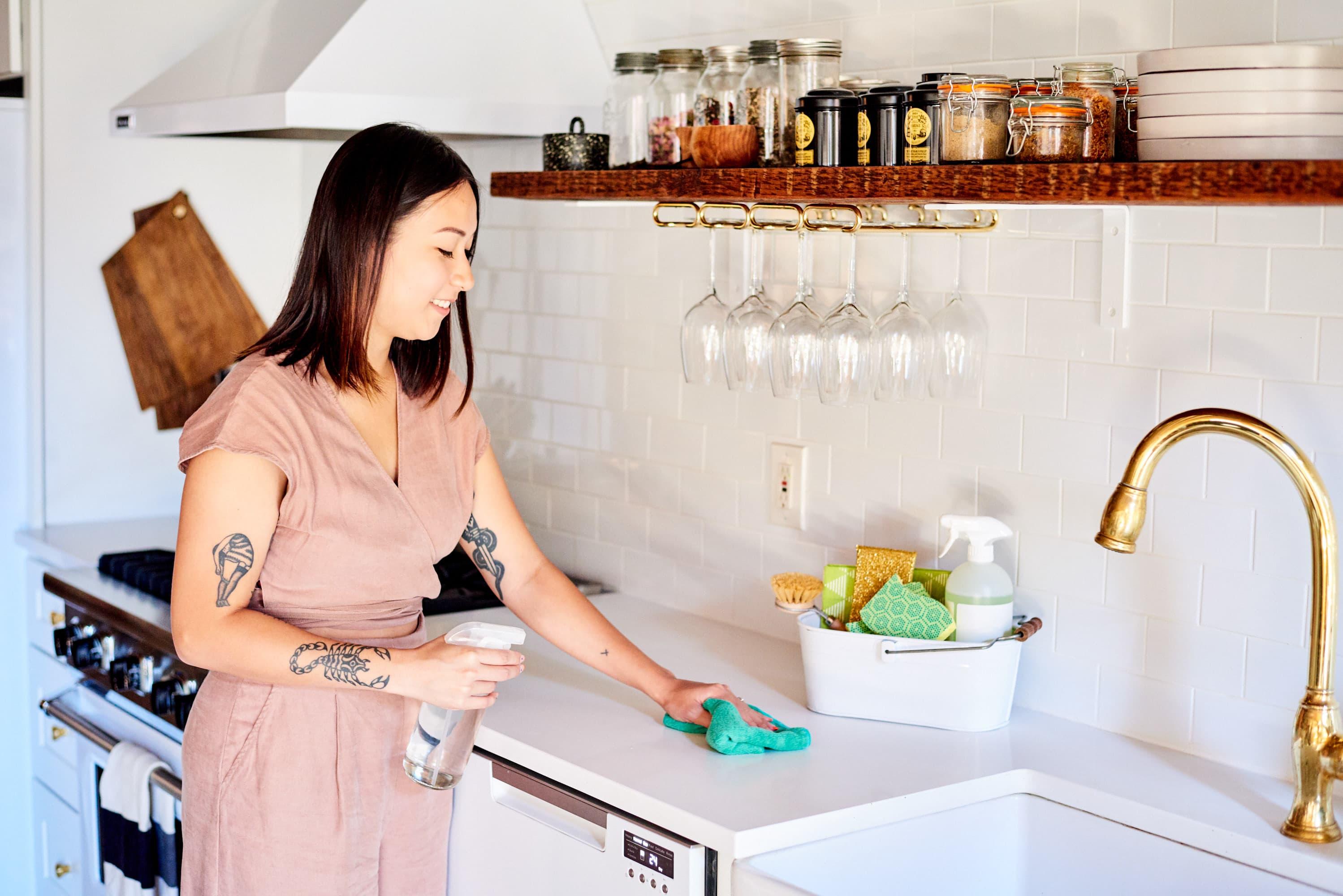 Cleaning kitchen,nari