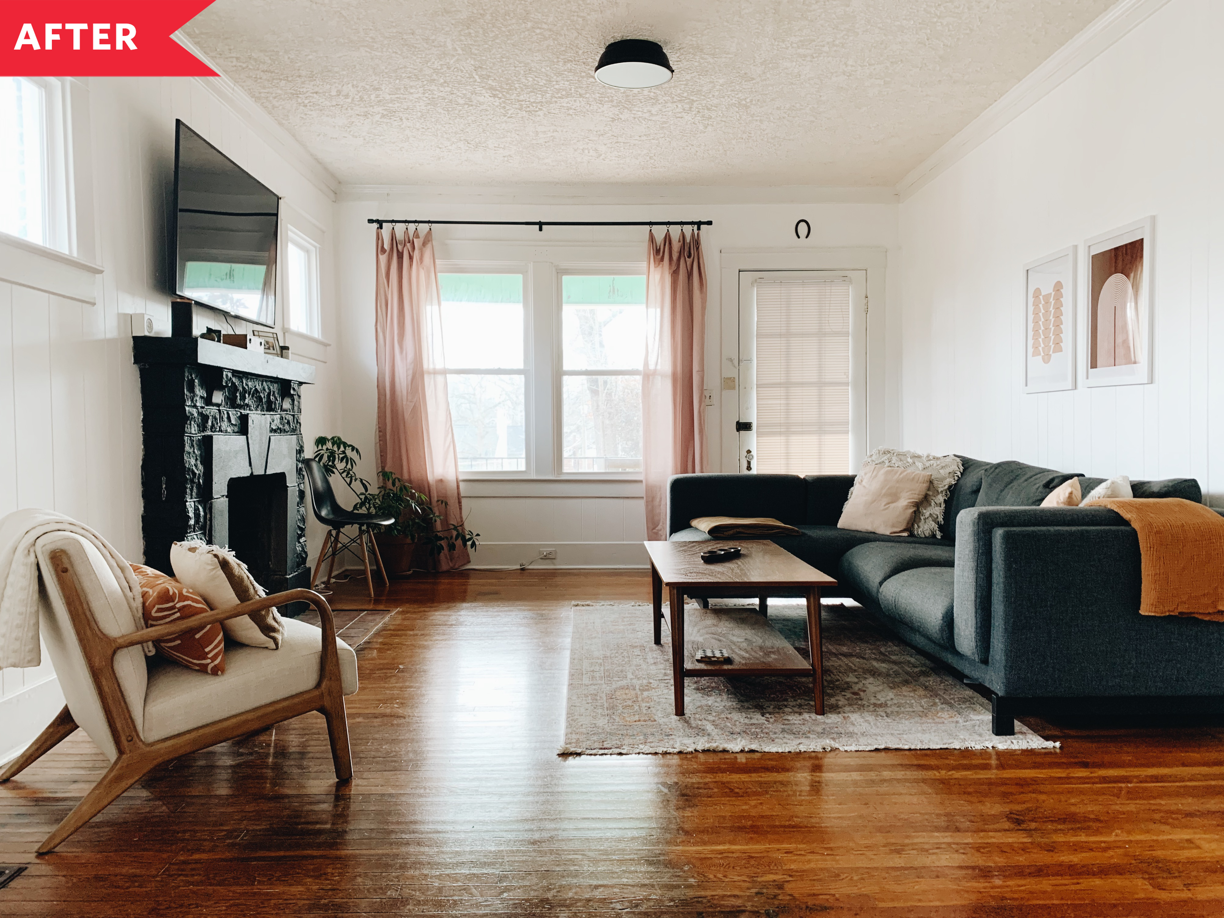 Before And After Living Room Redo Boho Minimalist Living Room Makeover Apartment Therapy