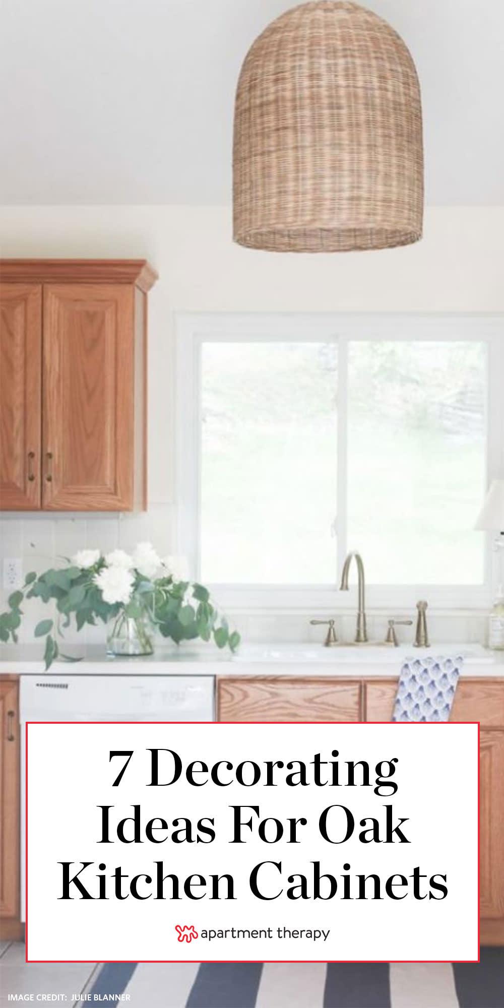 Rental Kitchen Decor Ideas Oak Wood Finish Cabinets Apartment Therapy