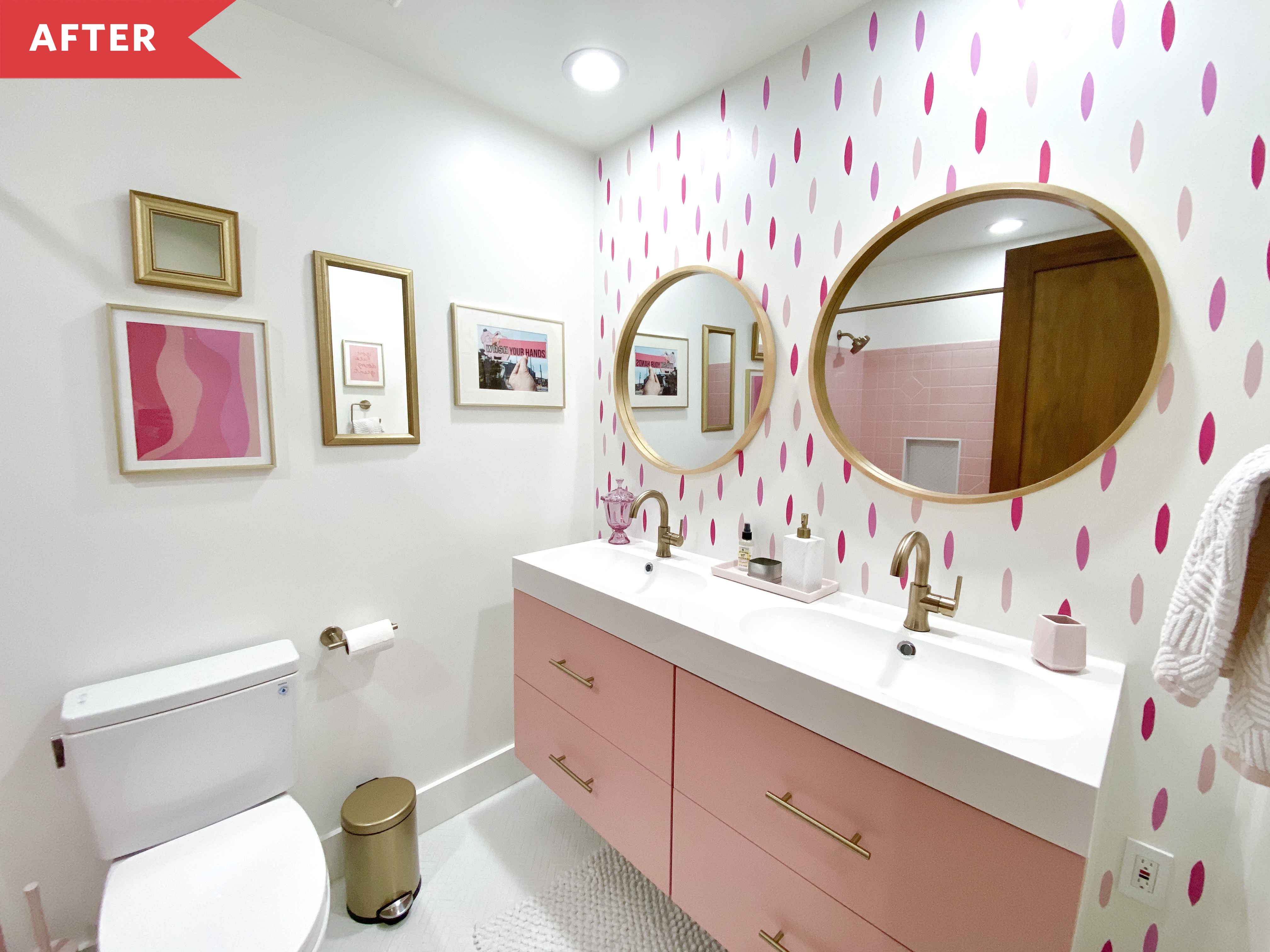 Vintage Pink Tile Bathroom Refresh Apartment Therapy