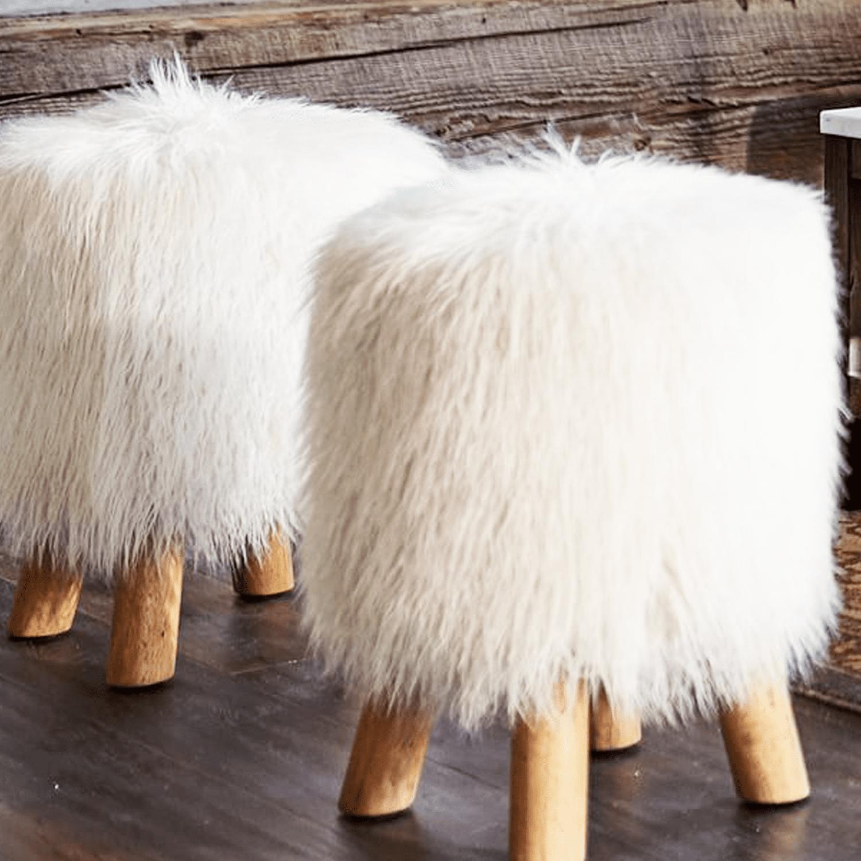 Mongolian Faux Fur Stool