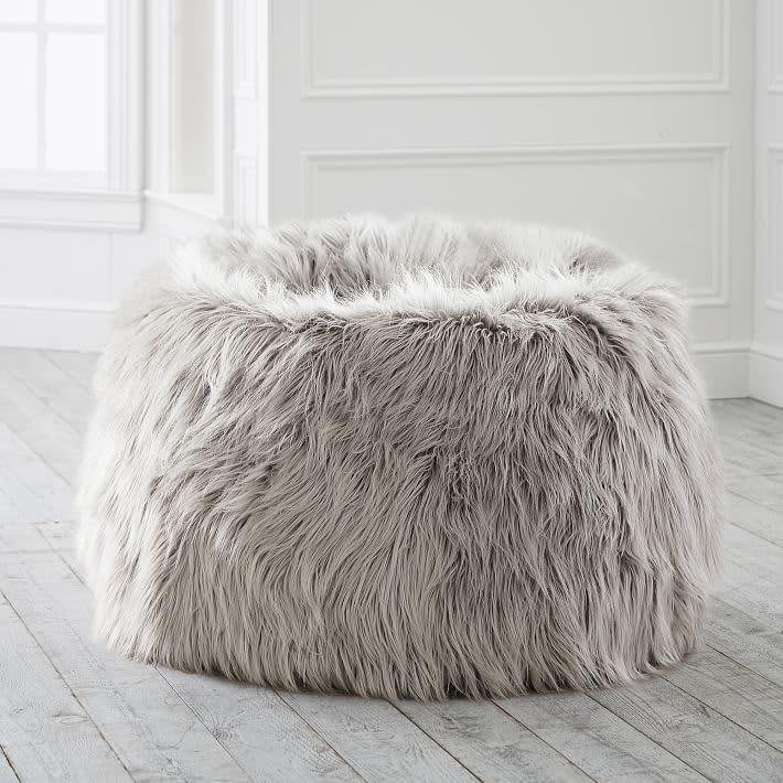 Himalayan Faux-Fur Blush Bean Bag Chair
